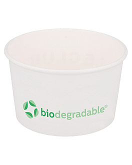 ice-cream tubs 'biodegradable' 150 ml 210 + 30 pla gsm Ø8,5x4,5 cm white cellulose + pla (2000 unit)