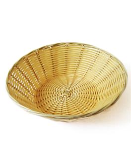 cestas sÍmil mimbre redondas Ø 25x7 cm natural pp (12 unid.)
