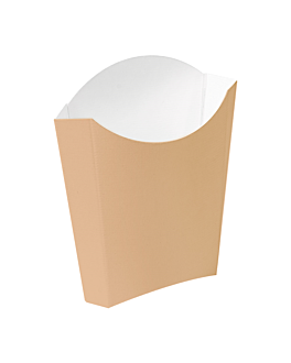 chip boxes jumbo 'thepack' 165 g 220 gsm 13,5x8,5x16 cm natural nano-micro corrugated cardboard (1200 unit)