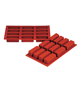 mould cake 7,9x2,9x3 cm 17,5x30 cm red silicone (1 unit)