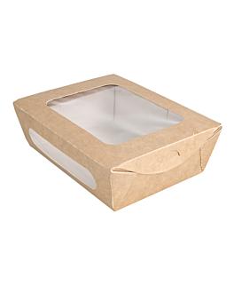 salad boxes with window 700 ml 391 gsm + pe 16x12x5 cm brown cardboard (200 unit)
