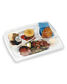 safata menjar per emportar+tapa 34x24 cm blanc pet (100 unitat)
