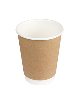 double wall cups 240 ml 280 + 250 + 18 pe g/m2 Ø8/5,6x9,2 cm brown cardboard (1000 unit)