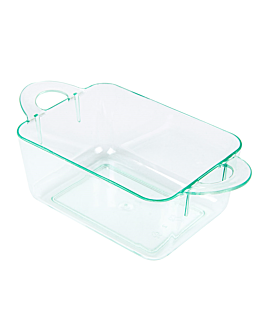 containers for appetisers with handles 9,6x5x3,5 cm sea green ps (576 unit)