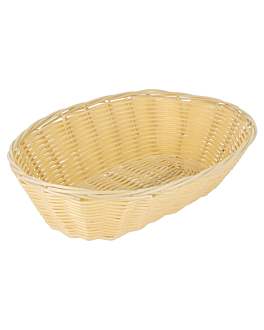 oval baskets imitation wicker 25x16,6x7,5 cm natural pp (12 unit)