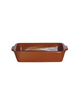 assiettes rectangulaires en faÏence 18x13,2x4 cm marron rougeatre ceramique (12 unitÉ)