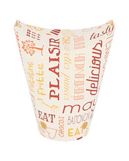 vasos fritas con cierre 'parole' 12 oz - 360 ml 220 + 18pe g/m2 6,7x12,5 cm blanco cartoncillo (100 unid.)