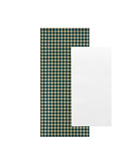 serviettes blanches emb. 'airlaid' 40x32 cm 'just in time closed' 40 + 10pe g/m2 11x25 cm bleu vichy kraft vergÉ (300 unitÉ)