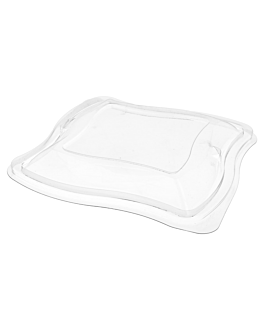 """wave"" lid for salad container  clear rpet (400 unit)"