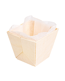 wooden containers + siliconed molds 5x5x4,5 cm natural wood (300 unit)
