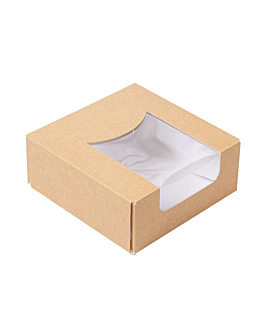 sushi boxes+frontal 'thepack' 220 gsm + opp 10x10x4 cm brown nano-micro corrugated cardboard (400 unit)