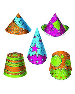 sombreros hologrÁficos 13/29 (h) cm cartoncillo (12 unid.)