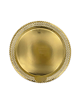 assiettes dentelÉes 'erik' 1200 g/m2 + 300 g/m2 pp Ø 32 cm dore carton (100 unitÉ)