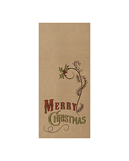 wrapped burgundy napkins 'd.point' 40x32 cm - merry christmas 'just in time closed' 80 + 10pe gsm 11x25 cm kraft ribbed (300 unit)