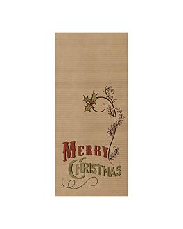 serviettes bordeaux emb. 'd.point' 40x32 cm - merry christmas 'just in time closed' 80 + 10pe g/m2 11x25 cm kraft vergÉ (300 unitÉ)
