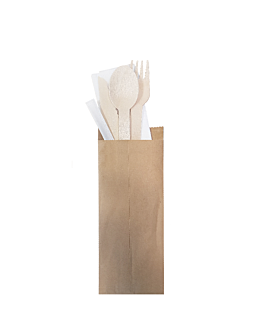 set cutlery, napkin, toothpick wrapped kraft 'makan' 16 cm natural wood (200 unit)