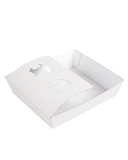 carrying trays 2 cups+1 compart. 'thepack' 220 gsm 24,5x22x5,5 cm white nano-micro corrugated cardboard (200 unit)