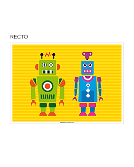 "sets de table coloriage ""robot"" 100 g/m2 31x43 cm quadrichromie cellulose (1000 unitÉ)"