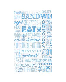 pochettes hamburgers 'parole' 32 g/m2 14+7x22 cm bleu parch.ingraissable (500 unitÉ)