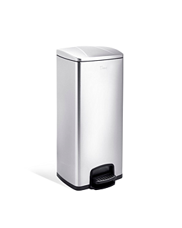 pedal bin with interior receptacle 30 l 31,5x31,5x69,5 cm silver stainless steel (1 unit)
