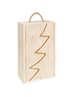 """caja 2 botellas """"abeto"""" 36x20,5x10,5 cm oro madera (10 unid.)"""