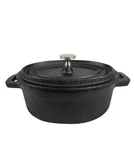 oval cocotte with lid 17,8x14x7 cm black iron (6 unit)
