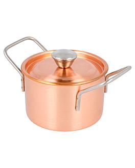 mini ollas Ø 9x6 cm cobre inox (12 unid.)