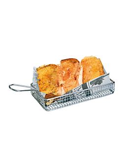 mini friteuse longue 24x15x3,5 cm argente inox (6 unitÉ)