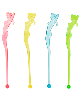 "whisky stirrers ""mermaid"" 15 cm assorted ps (100 unit)"
