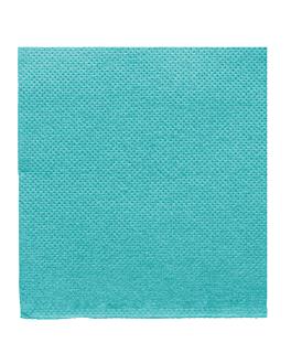 serviettes ecolabel 'double point' 18 g/m2 20x20 cm bleu turquoise ouate (2400 unitÉ)