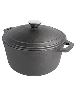 cocotte redonda con tapa 4,8 l Ø 26 cm negro hierro (2 unid.)