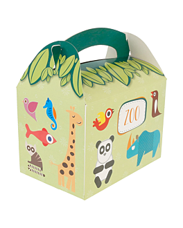 party boxes 'zoo' 320 gsm 17x16x10 cm four coloured cardboard (300 unit)
