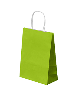 sos bags with handles 80 gsm 26+14x32 cm aniseed green cellulose (250 unit)