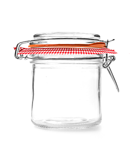 jar clip lid + vichy paper 250 ml Ø 8,5x10 cm clear glass (24 unit)