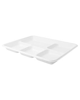 trays 5 compart. 'bionic' 26,5x21,5x2,5 cm white bagasse (500 unit)