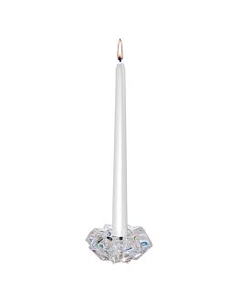 bougies coniques Ø 2,3x25 cm argente cire (12 unitÉ)