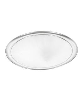 assiette À pizza plate Ø 35 cm argente aluminium (1 unitÉ)