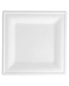 platos cuadrados 'bionic' 16x16x1 cm blanco bagazo (1000 unid.)