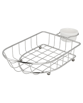"baskets ""boat"" + tub 24,7x12,7x6 cm silver stainless steel (6 unit)"