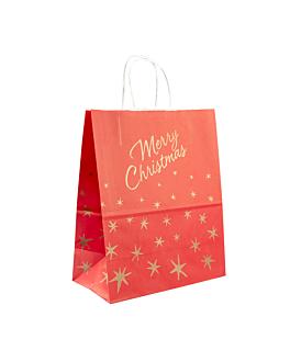 sacos sos con asas 'merry christmas' 80 g/m2 20+10x29 cm rojo celulosa (250 unid.)