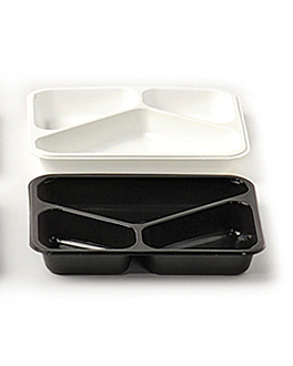 microwavable tray - 3 compartments 22,5x17,5x4,5 cm white pp (500 unit)