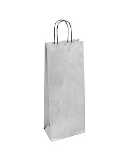 sacos sos com asas 1 garrafa 100 g/m2 14+8x40 cm prateado kraft (250 unidade)