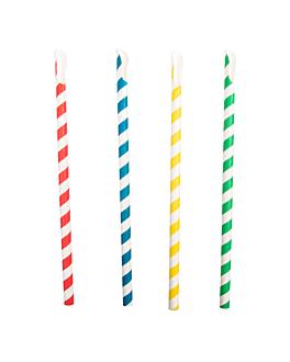 trinkhalme mit streifen mit lÖffel Ø0,8x21 cm sortiment papier (100 einheit)