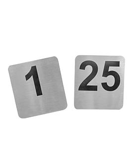 nÚmeros de sobremesa del 1 al 25 9,5x8,8 cm plateado inox (1 unid.)