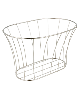 tuscan style basket 21x12,7x12,7 cm silver stainless steel (12 unit)