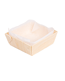 wooden containers + siliconed molds 5,5x5,5x2 cm natural wood (300 unit)