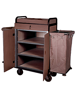 trolley with door + 2 vynil bags 144x50x114 cm brown iron (1 unit)