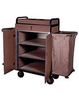 chariot avec portes + 2 sacs de vinyl 144x50x114 cm marron fer (1 unitÉ)