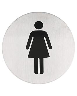 "placa autoadesivas ""senhoras"" Ø 7,5 cm prateado inox (1 unidade)"