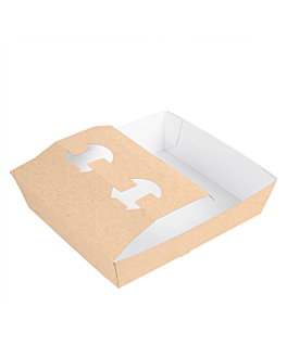 carrying trays 2 cups+1 compart. 'thepack' 230 gsm 24,5x22x5,5 cm natural nano-micro corrugated cardboard (200 unit)